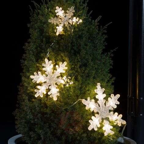 Kolmiosainen LED-valoketju Lumihiutale