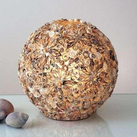 Koristeellinen pöytävalaisin simpukkapallo