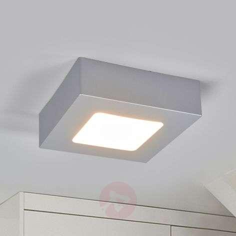 Kulmikas Marlo-LED-kattovalaisin hopeisena, IP44