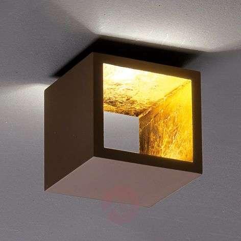 Kuutiomainen Cubò-LED-kattovalaisin, ruskea, kulta