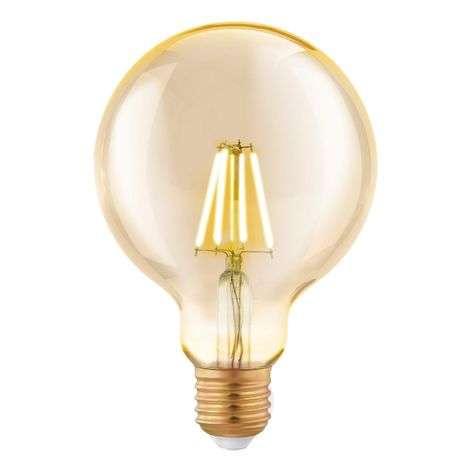 LED-globe-lamppu E27 G95 4W, filamentti, keltainen