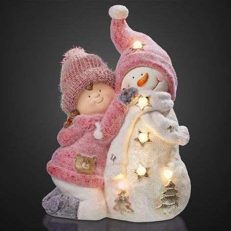 LED-hahmo Tyttö ja lumiukko, paristokäyttöinen