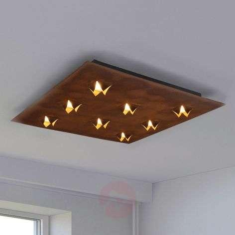 LED-kattolamppu Roni, ruosteviimeistely, 62x62 cm