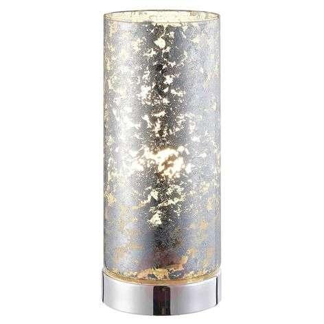 LED-pöytävalaisin Latina hopeanväristä lasia