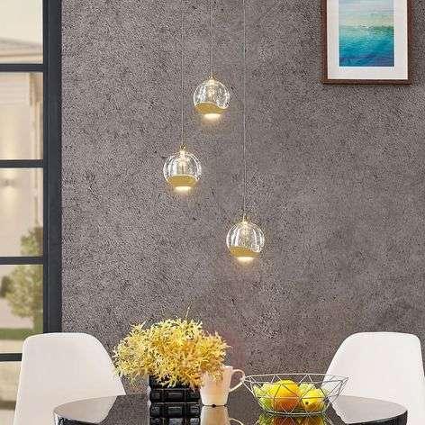 LED-riippuvalo Hayley lasipallot 3-lampp. kulta