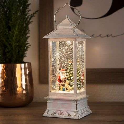 LED-vesilyhty joulupukki sekä koira