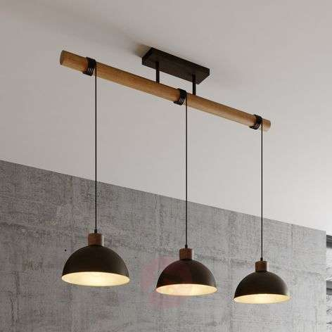 Lindby Holgar -riippuvalo, puu ja metalli, 3-lamp.