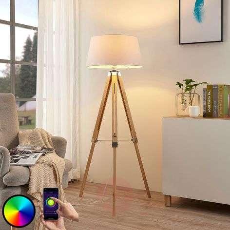 Lindby Smart LED-lattiavalo Alessa 3-jalka app RGB