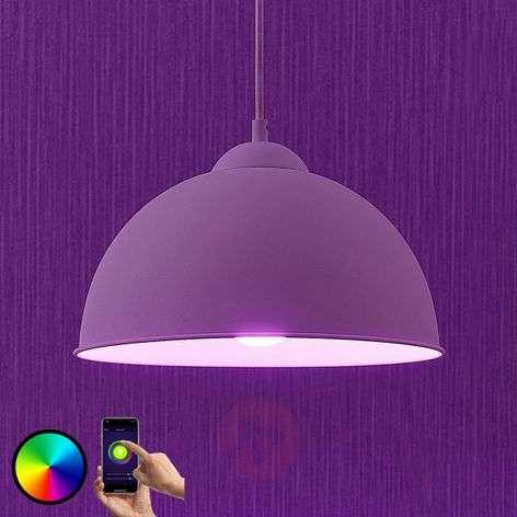 Lindby Smart LED-riippuvalaisin Bowl 31 cm valk.