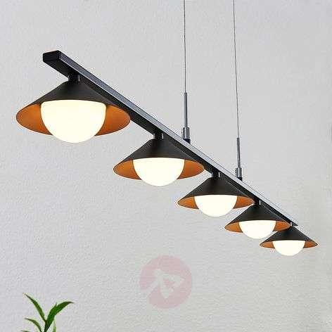 Lucande-LED-riippuvalaisin Kianos, musta, 5-lamp.