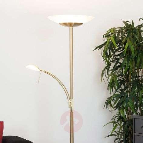 Messinginvärinen LED-lattialamppu IIinca, lukuvalo