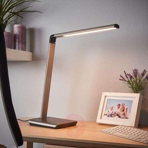 Metallinharmaa Kuno-pöytävalaisin LED, himm. USB