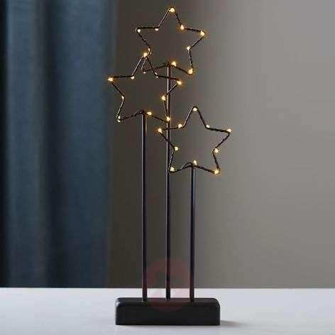Musta 3-tähtinen-koristevalaisin Stary LEDeillä