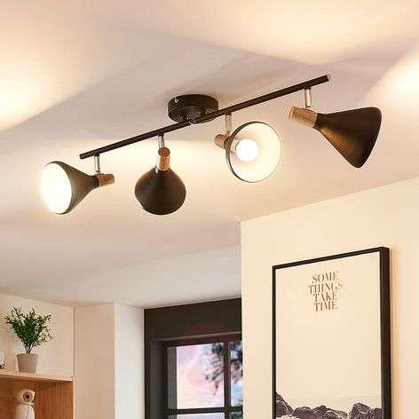 Musta LED-kattokohdevalo Arina, puukoristeita