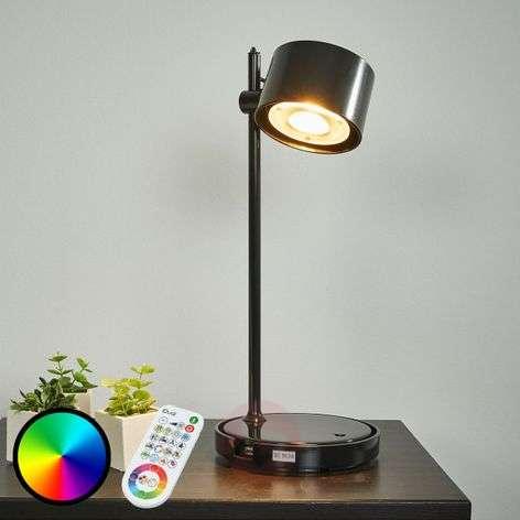 Musta LED-pöytälamppu Jasmine iDual kaukosäädöllä