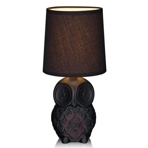 Musta, pöllönmuotoinen pöytävalaisin Helge