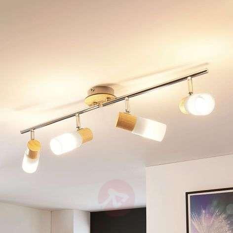 Nelilamppuinen LED-kattovalaisin Christoph, puuta