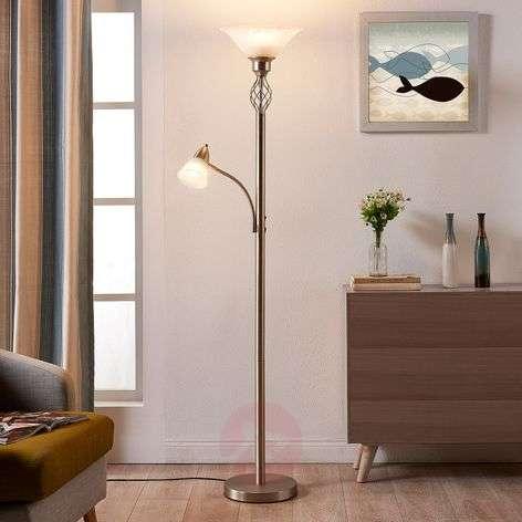 Nikkelinvärinen LED-lattiavalaisin Dunja, lukuvalo-9621223-32