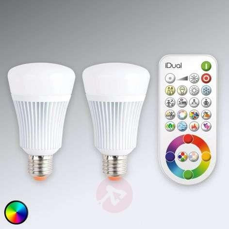 Ohjattava iDual E27-LED-lamppu, 2 kpl, kaukosäädin