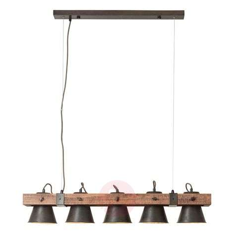 Plow-riippuvalo, 5-lamppuinen, musta / tumma puu