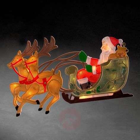 Poro ja joulupukki - LED-ikkunakuva