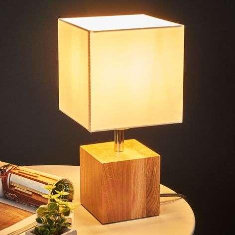 Puinen Trongo-pöytälamppu, antrasiitti johto