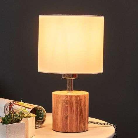 Puinen Trongo-pöytälamppu, mustavalkoinen johto