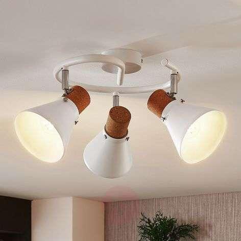 Pyöreä kattospotti Silva, korkkikoriste, 3-lamp.