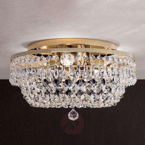 Pyöreä kristallikattokruunu SHERATA, kulta 35cm