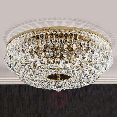 Pyöreä kristallikattokruunu SHERATA, kulta 45cm