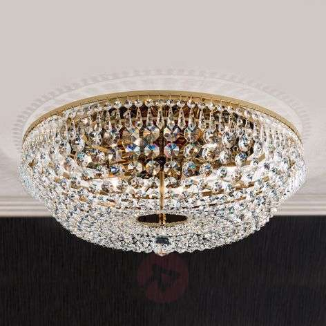 Pyöreä kristallikattokruunu SHERATA, kulta 55cm