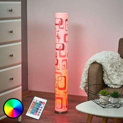 Retrokuvioinen LED-lattialamppu Mirella, GU10 RGB