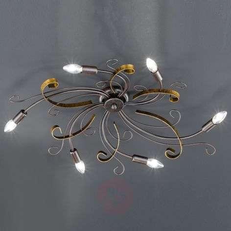 Ruosteenvärinen kattovalaisin Garra, 6-lamppuinen