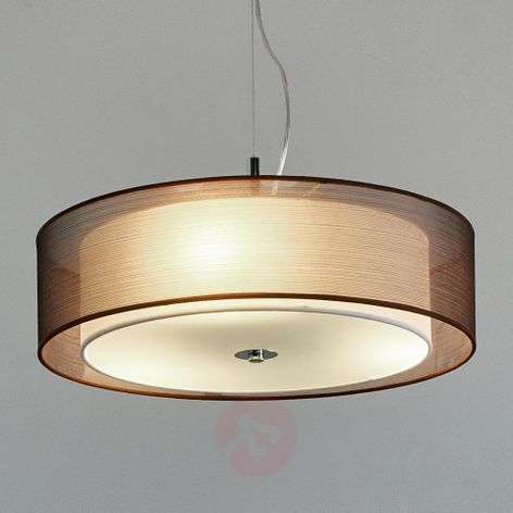 Ruskea tekstiiliriippuvalaisin Pikka, E27-LED:t
