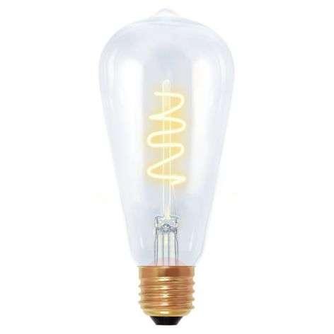 Rustiikki-LED-lamppu Curved Line E27 4W 922 harmaa