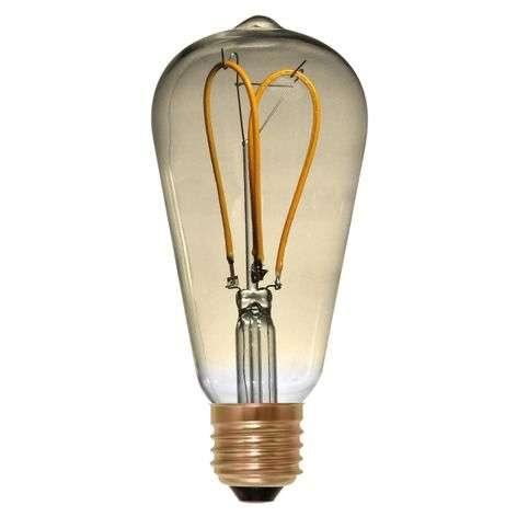 Rustiikki-LED-lamppu E27 4W 922 Curved Line, kulta