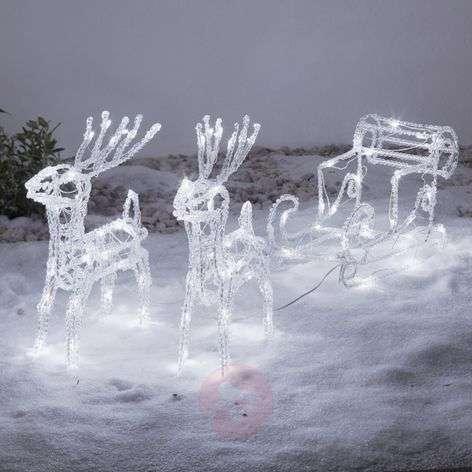 Säihkyvä LED-ulkokoriste Porot ja reki