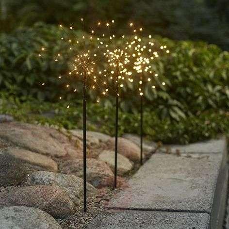 Seisova LED-tähti Firework Outdoor,3kpl,valk.