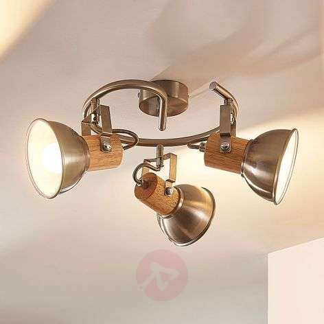 Spottiplafondi Dennis, puuta ja E14-LED-lamppu
