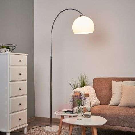 Sveri-kaarilamppu marmorijalka/valkoinen varjostin