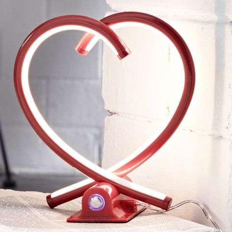 Sydämenmuotoinen LED-pöytälamppu Valentin