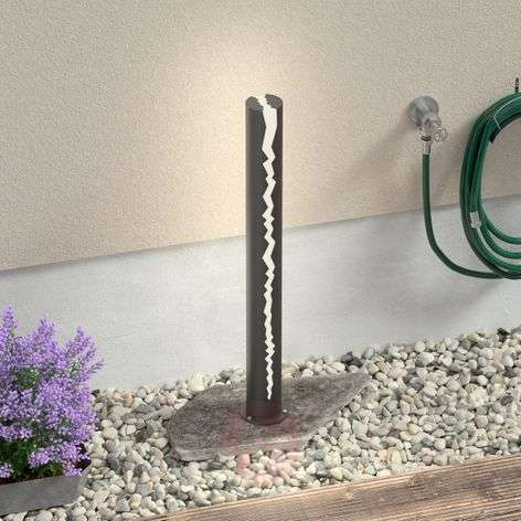 Tummanharmaa LED-pylväsvalaisin Keke, 100 cm