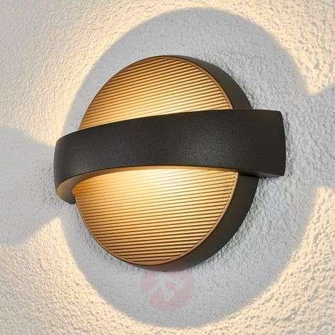 Tummanharmaa, pyöreä Meyra-LED-ulkoseinävalaisin