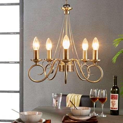 Tyylikäs Marnia-kruunu, vanha messinki, 5-lampp.