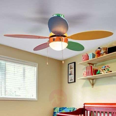 Värikäs ja valaistu kattotuuletin Corinna