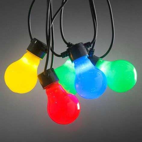 Värikäs LED-terassiketju, matat lamput