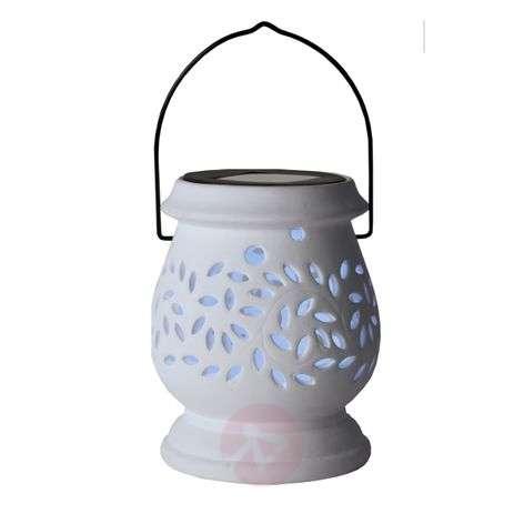 Valkoinen LED-aurinkokennolyhty Clay Lantern