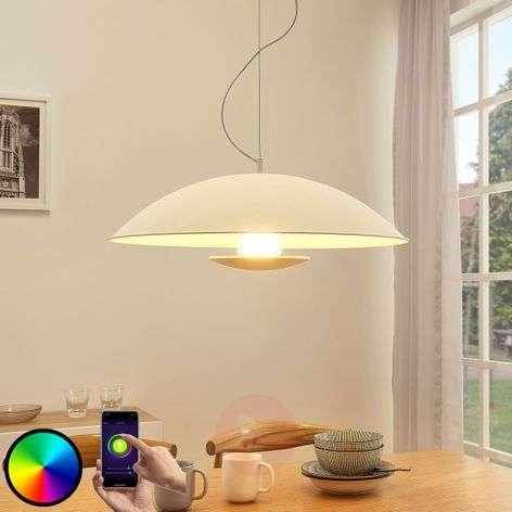 Valkoinen LED-riippuvalaisin Arthur, E27 RGB