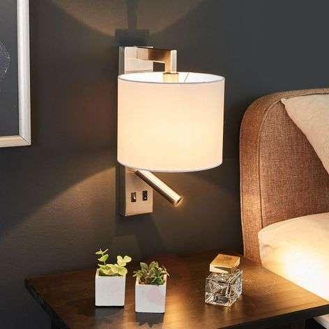 Valkoinen seinävalo Mavis LED-lukuvalolla