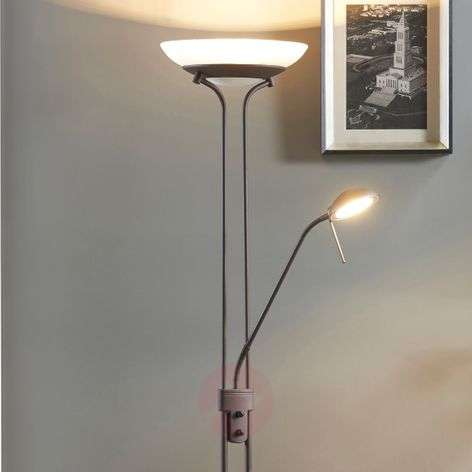 Yveta - ruosteenvärinen LED-lattiavalaisin, himmen